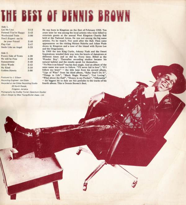 The Best Of Dennis Brown rear LP sleeve