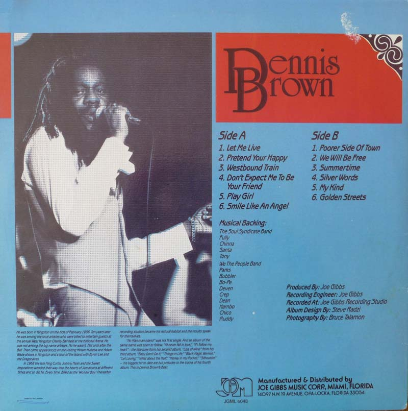 Best Of Dennis Brown Part 1 back cover