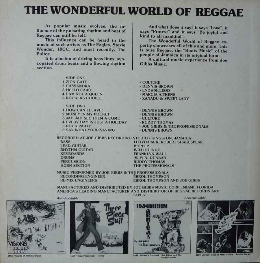 The Wonderful World Of Reggae LP rear cover