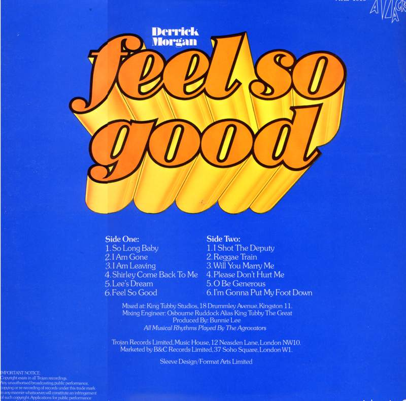 LP cover of Feel So Good by Derrick Morgan  (featuring Hortense Ellis)