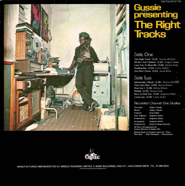Gussie Presenting The Right Tracks rear cover on Creole