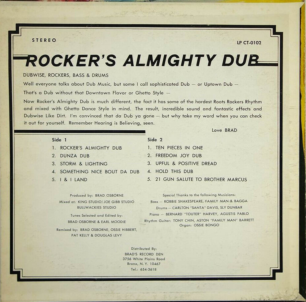 Rocker's Almighty Dub LP rear sleeve