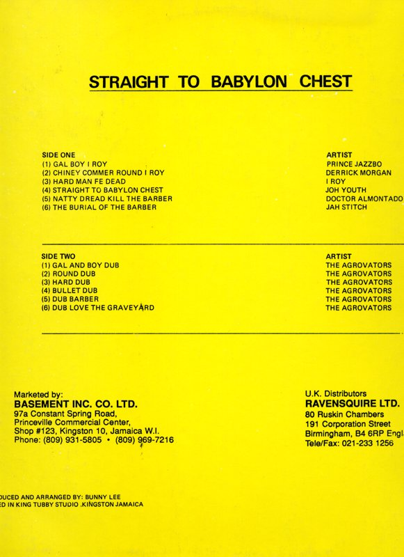 Straight To Babylon Chest reissue on Justice label